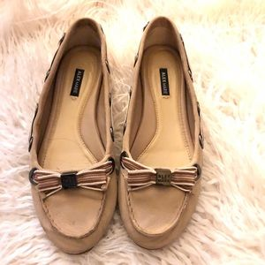 Nude tan loafers.